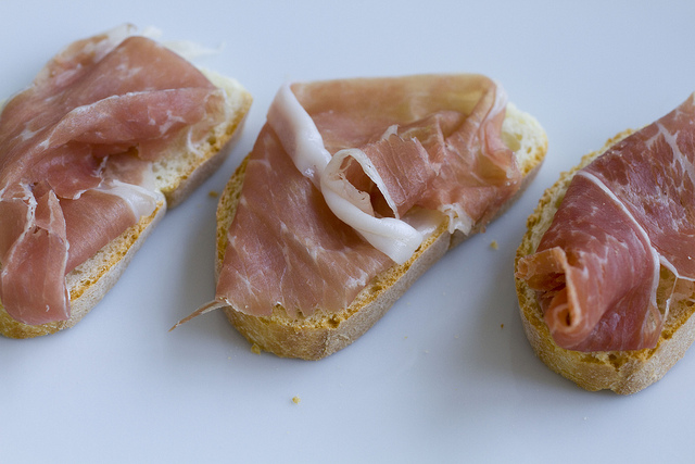 Prosciutto on Garlic Toast Crackers